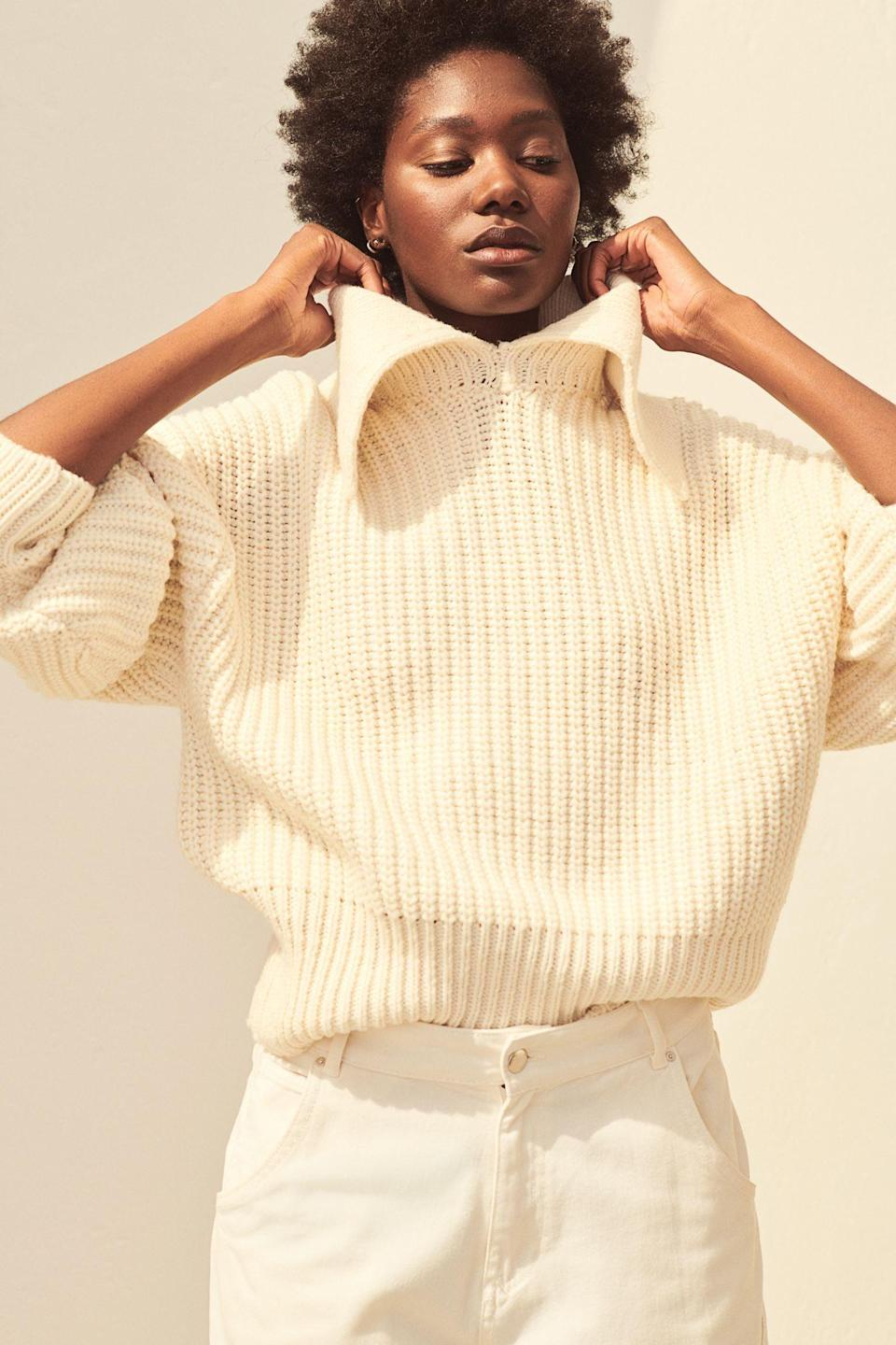 <p>This <span>H&amp;M Collared Rib-knit Sweater</span> ($35) looks extremely warm.</p>