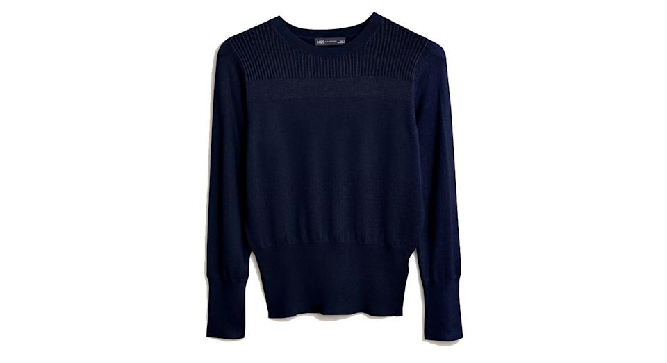 Textured Crew Neck Button Detail Jumper