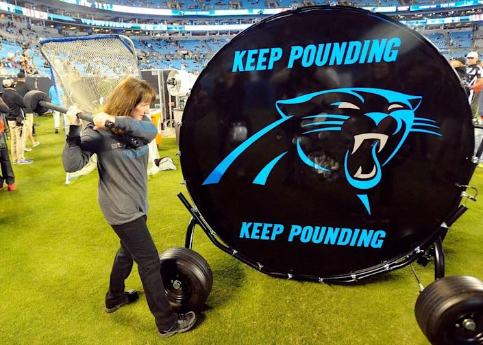 """The Carolina Panthers honor the phrase """"Keep Pounding"""" on the drum that is banged before every game. drummer Jan Kuhn takes practice swings prior to the start of the Tampa Bay Buccaneers vs Carolina Panthers game at Bank of America Stadium on Monday, October 10, 2016."""