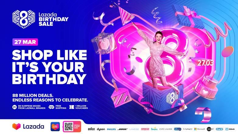 Lazada celebrates 8th birthday with a mega sale. (PHOTO: Lazada)