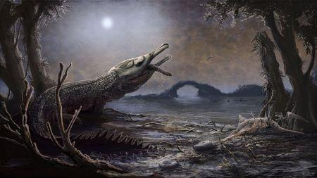 Handout photo of a life reconstruciton of Lemmysuchus is shown in this artist's depiction