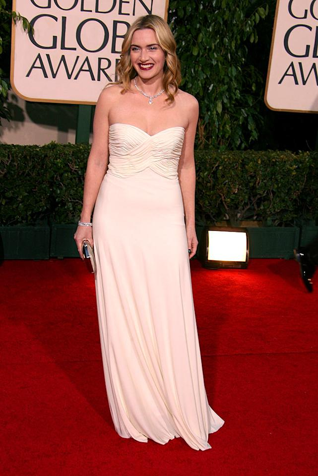 """Kate Winslet exemplified simple elegance in this strapless Azzarro gown from 2007. Steve Granitz/<a href=""""http://www.wireimage.com"""" target=""""new"""">WireImage.com</a> - January 15, 2007"""