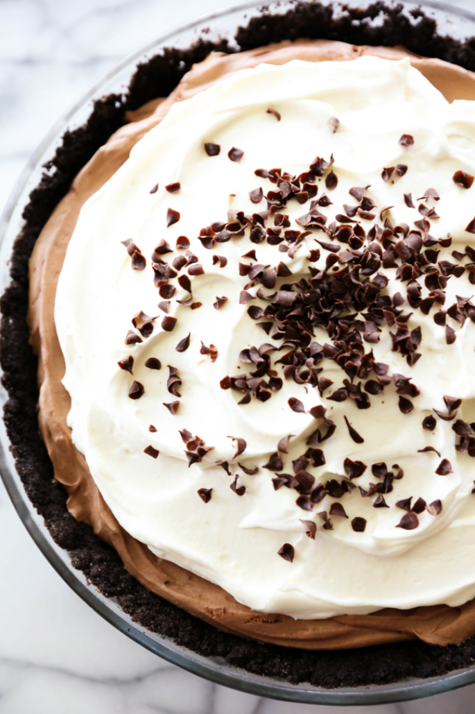 "<p>Even the most novice chefs can whip up this no-bake chocolate mousse pie. And since it doesn't require any oven time, it's the perfect dessert to make while your <a href=""https://www.countryliving.com/food-drinks/g1365/turkey-recipes/"" rel=""nofollow noopener"" target=""_blank"" data-ylk=""slk:Thanksgiving turkey"" class=""link rapid-noclick-resp"">Thanksgiving turkey</a> and <a href=""https://www.countryliving.com/food-drinks/g896/thanksgiving-side-dishes/"" rel=""nofollow noopener"" target=""_blank"" data-ylk=""slk:casseroles"" class=""link rapid-noclick-resp"">casseroles</a> are cooking.</p><p><strong>Get the recipe at <a href=""https://www.chef-in-training.com/no-bake-chocolate-mousse-pie/"" rel=""nofollow noopener"" target=""_blank"" data-ylk=""slk:Chef in Training"" class=""link rapid-noclick-resp"">Chef in Training</a>.</strong></p>"