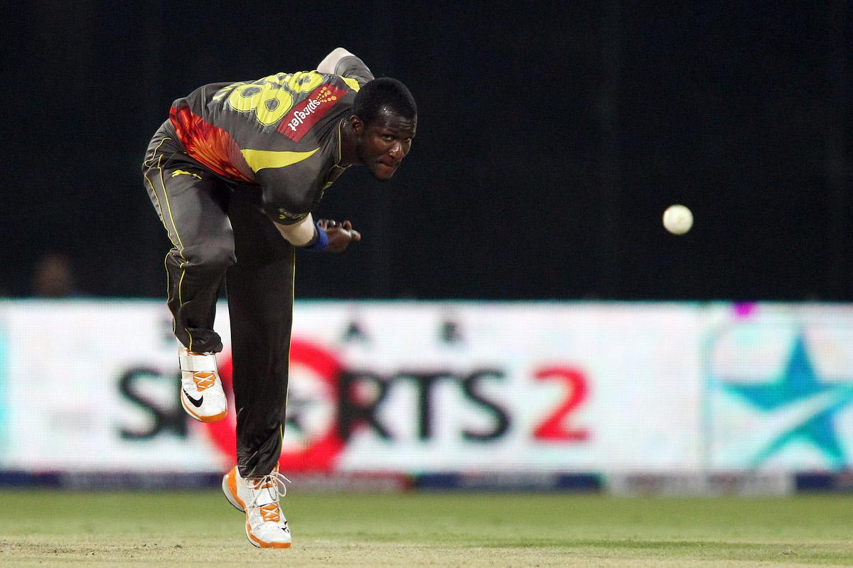 Darren Sammy of Sunrisers Hyderabad sends down a delivery during the eliminator match of the 2013 Pepsi Indian Premier League between The Rajasthan Royals and the Sunrisers Hyderabad held at the Feroz Shah Kotla Stadium, Delhi on the 22nd May 2013. (BCCI)