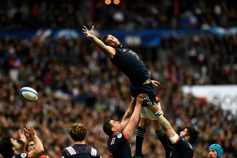 France's Yoann Maestri jumps in a line-out during the Six Nations tournament Rugby Union match between France and Wales at the Stade de France in Saint-Denis, outside Paris, on March 18, 2017