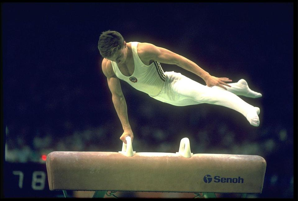 <p>Silver medalist Valery Lyukin made the pommel horse look easy! </p>