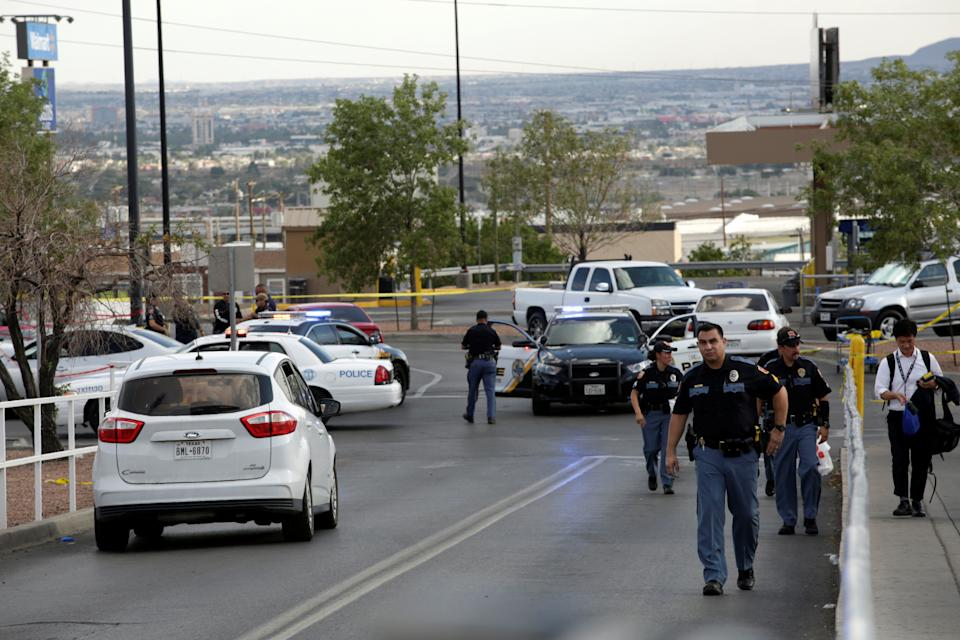 Police are seen after a mass shooting at a Walmart in El Paso, Texas, U.S. August 3, 2019. REUTERS/Jose Luis Gonzalez