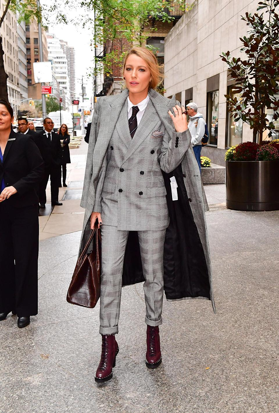 <p>Blake went down an unexpected route on her 'All I See Is You' press tour, opting for a three-piece suit from Ralph Lauren's menswear collection.<br><i>[Photo: Getty]</i> </p>