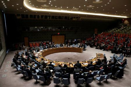 The U.N. Security Council meets to hear a briefing by Nickolay Mladenov, U.N. Special Coordinator for the Middle East Peace Process, during a council meeting on the situation in the Middle East at U.N. headquarters in New York City