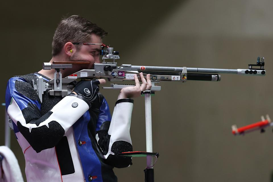 <p>ASAKA, JAPAN - JULY 25: Gold Medalist William Shaner of Team United States during the finals of the 10m Air Rifle Men's event event on day two of the Tokyo 2020 Olympic Games at Asaka Shooting Range on July 25, 2021 in Asaka, Saitama, Japan. (Photo by Kevin C. Cox/Getty Images)</p>