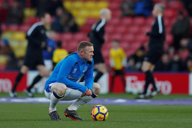 """Soccer Football - Premier League - Watford vs Everton - Vicarage Road, Watford, Britain - February 24, 2018 Everton's Wayne Rooney during the warm up before the match Action Images via Reuters/Andrew Couldridge EDITORIAL USE ONLY. No use with unauthorized audio, video, data, fixture lists, club/league logos or """"live"""" services. Online in-match use limited to 75 images, no video emulation. No use in betting, games or single club/league/player publications. Please contact your account representative for further details."""