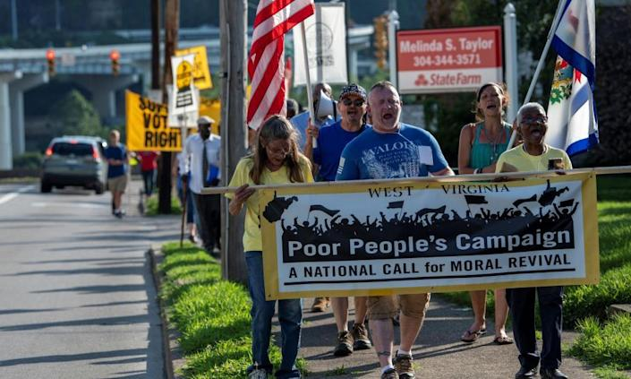 The Poor People's Campaign and local residents take part in the 'Moral March on Manchin' earlier this week.