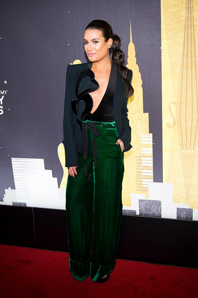 <p>The former 'Glee' star wore a pair of green, velvet trousers paired with a heart-motif jacket by Elie Saab for the event. <em>[Photo: Getty]</em> </p>