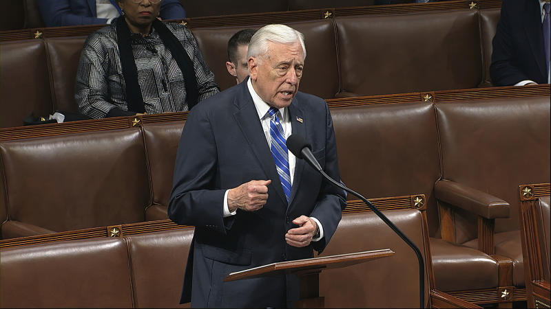 In this image from video, House Majority Leader Steny Hoyer of Md., speaks on the floor of the House of Representatives at the U.S. Capitol in Washington, Friday, March 27, 2020. (House Television via AP)