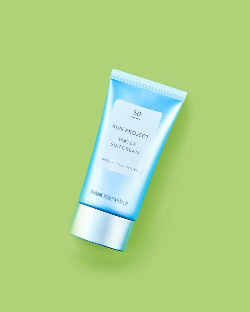 """<h3>Thank You Farmer Sun Project Water Sun Cream</h3><br>One of the most popular <a href=""""https://www.refinery29.com/en-us/best-korean-sunscreen"""" rel=""""nofollow noopener"""" target=""""_blank"""" data-ylk=""""slk:K-beauty sunscreens"""" class=""""link rapid-noclick-resp"""">K-beauty sunscreens</a> in the game is currently on sale at Soko Glam. (Think the hydrating, non-greasy texture of <a href=""""https://www.refinery29.com/en-us/tatcha-water-cream-moisturizer-review"""" rel=""""nofollow noopener"""" target=""""_blank"""" data-ylk=""""slk:Tatcha's Water Cream"""" class=""""link rapid-noclick-resp"""">Tatcha's Water Cream</a>, but with SPF 50 PA+++ benefits.)<br><br><strong>Thank You Farmer</strong> Sun Project Water Sun Cream, $, available at <a href=""""https://go.skimresources.com/?id=30283X879131&url=https%3A%2F%2Ffave.co%2F2ELiByi"""" rel=""""nofollow noopener"""" target=""""_blank"""" data-ylk=""""slk:Soko Glam"""" class=""""link rapid-noclick-resp"""">Soko Glam</a>"""