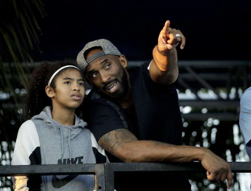 Kobe Bryant coached his daughter, Gianna. (AP Photo/Chris Carlson)