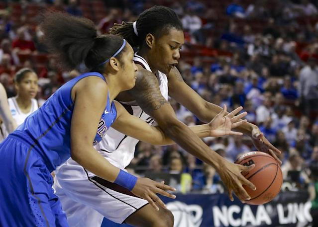 DePaul's Chanise Jenkins (13) and Texas A&M's Achiri Ade, rear, reach for a loose ball during the second half of a regional semifinal in the NCAA women's college basketball tournament in Lincoln, Neb., Saturday, March 29, 2014. (AP Photo/Nati Harnik)
