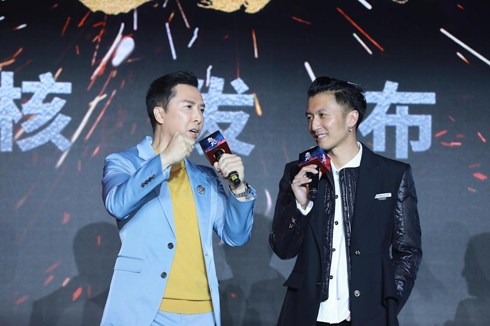 SHANGHAI, CHINA - JUNE 13: Actor Donnie Yen Ji-dan (L) and actor Nicholas Tse Ting-fung attend the press conference of film 'Raging Fire' during the 24th Shanghai International Film Festival on June 13, 2021 in Shanghai, China. (Photo by VCG/VCG via Getty Images)