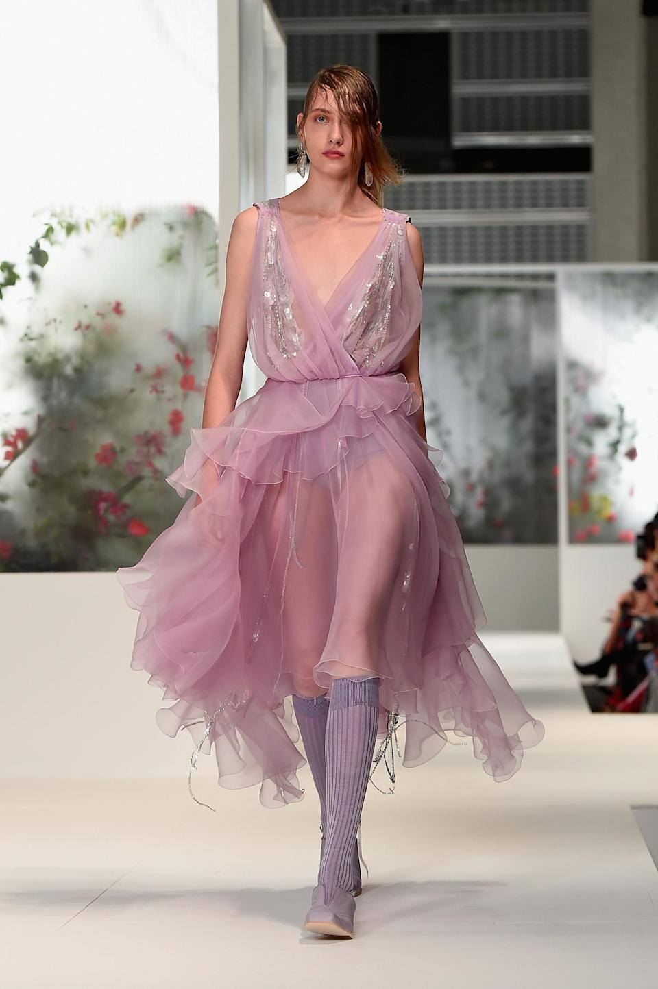 <p>Stunning deep-V tulle and sequins. </p>