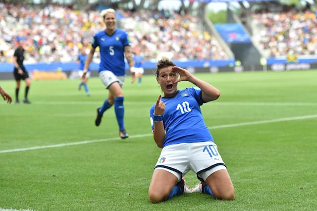 Cristiana Girelli of Italy celebrates after scoring her second goal during the 2019 FIFA Women's World Cup France group C match between Jamaica and Italy at Stade Auguste Delaune on June 14, 2019 in Reims, France. (Photo by Tullio M. Puglia/Getty Images)