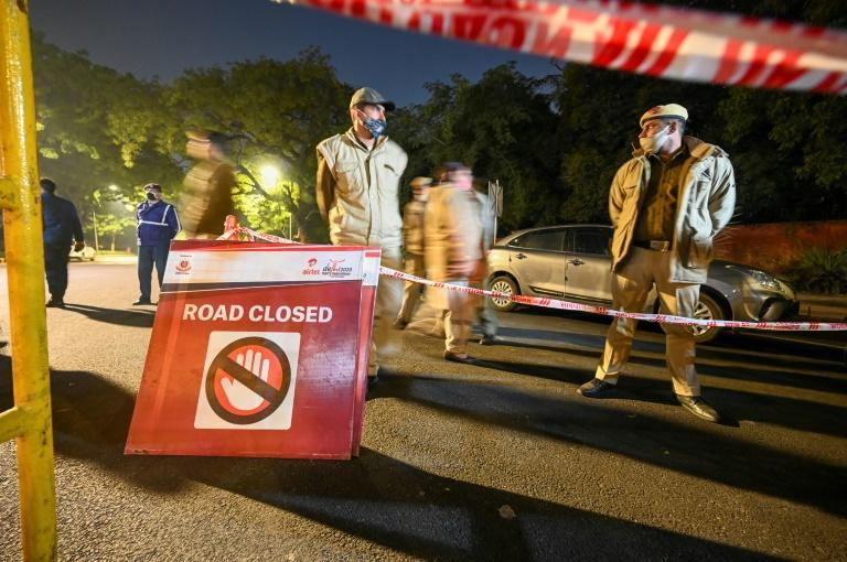 Roads around the Israeli embassy in New Delhi were closed after a small bomb went off outside it