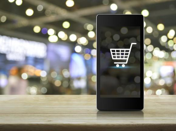A shopping cart icon on a smartphone screen.