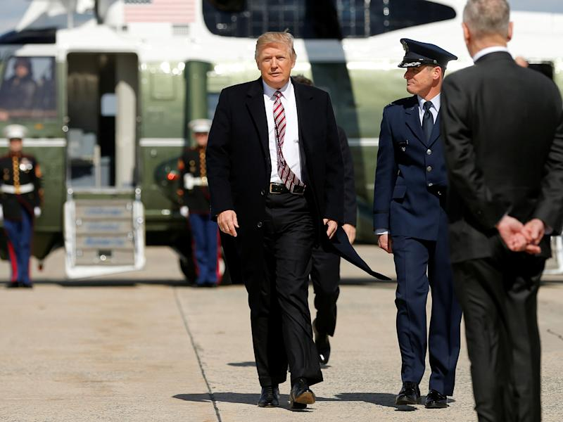 President Donald Trump arrives to board Air Force One at Joint Base Andrews in Maryland: Reuters