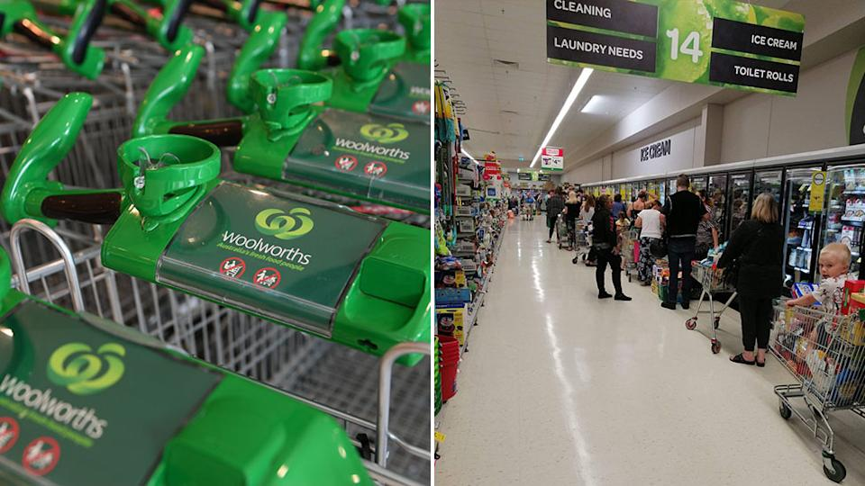 Woolworths has implemented product limits to multiple items, on the left, people are seen lining up at a Woolworths in South Australia.