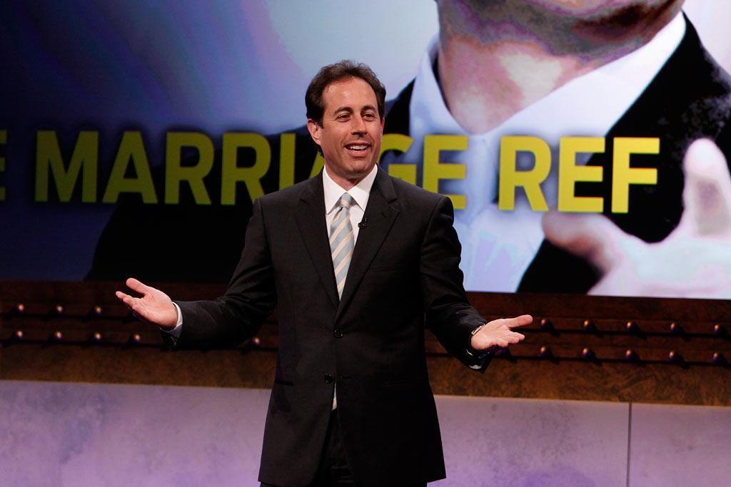 "<a href=""/jerry-seinfeld/contributor/37666"">Jerry Seinfeld</a> is back, and in the producer's chair, for a funny, revealing series about the unpredictable institution of marriage. In his celebrated sitcom <a href=""/seinfeld/show/203"">""Seinfeld,""</a> Jerry and friends became household names by highlighting humorous and relatable situations surrounding single life in New York City. In Jerry's new primetime venture, married life takes center stage as celebrities, comedians, and sports stars candidly decide who's right and who's wrong in real-life disputes between spouses. Revealing and controversial, <a href=""/the-marriage-ref/show/44428"">""The Marriage Ref""</a> vows to look at relationships in a way you've never seen on TV. <a href=""/the-marriage-ref/show/44428"">Premieres in 2010 on NBC</a>"