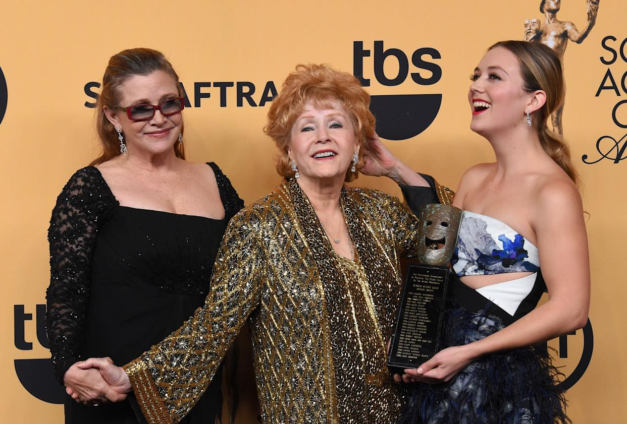 Carrie Fisher, Debbie Reynolds and Billie Lourd at the 21st Annual Screen Actors Guild Awards (Photo: Steve Granitz via Getty Images)