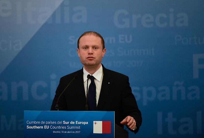 """Maltese Prime Minister Joseph Muscat, pictured in April 2017, said the graft claim was """"a totally outright lie that has been directed towards my wife's family"""""""