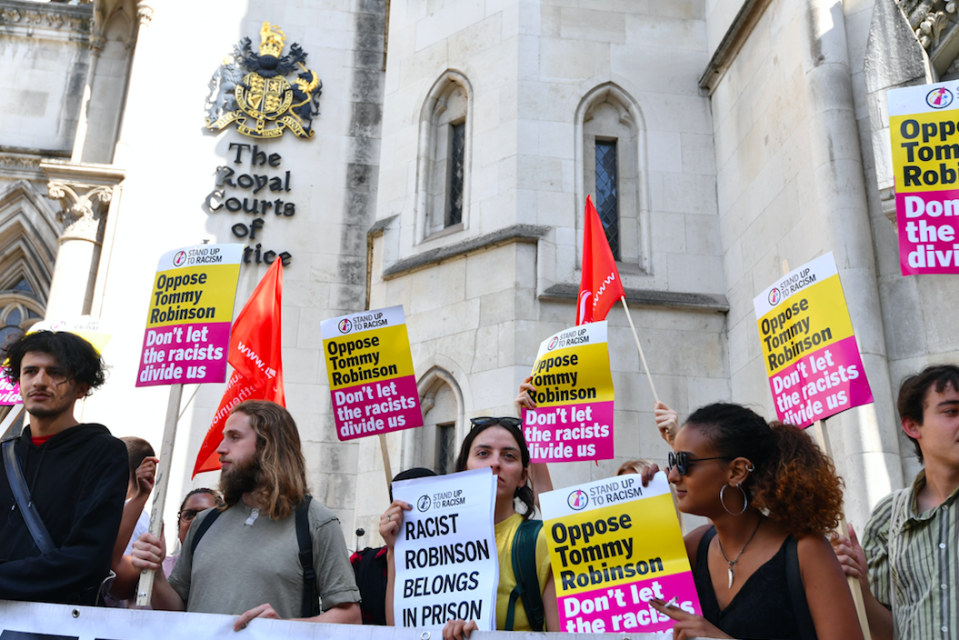 <em>A counter-protest against Robinson took place outside the Court of Appeal (PA)</em>