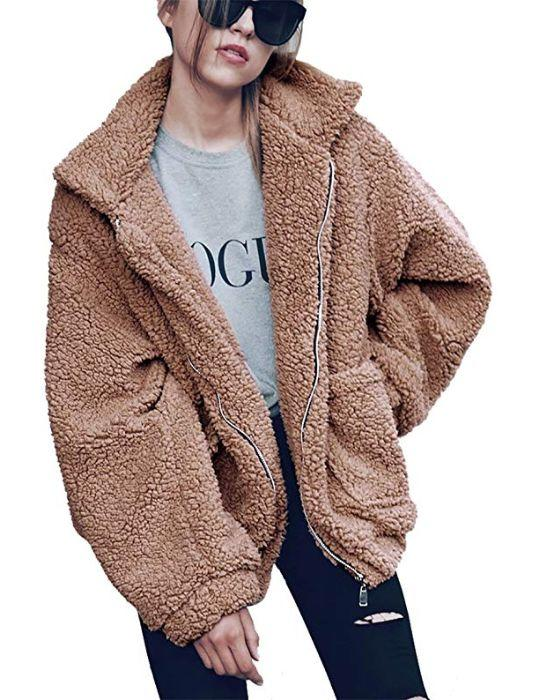 "This teddy coat has double-breasted buttons, an oversized collar and lapels with side pockets. It also comes in a ton of colors and zip-up style.&nbsp; <a href=""https://amzn.to/32wMwR5"" target=""_blank"" rel=""noopener noreferrer""><strong>Find it for $32 on Amazon</strong></a>."