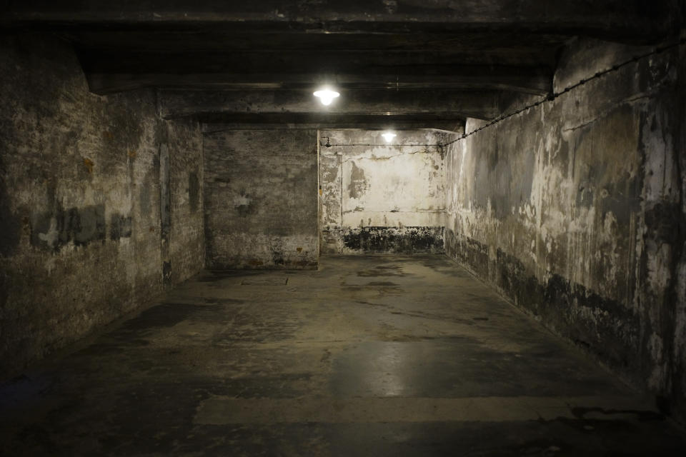 A view inside gas chamber one at the former Nazi death camp of Auschwitz I in Oswiecim, Poland, Sunday, Dec. 8, 2019. On Jan. 27, 1945, the Soviet Red Army liberated the Auschwitz death camp in German-occupied Poland. The commemorations for the victims of the Holocaust at the International Holocaust Remembrance Day, marking the liberation of Auschwitz-Birkenau on Jan. 27, 1945, will be mostly online in 2021 due to the coronavirus pandemic. (AP Photo/Markus Schreiber)