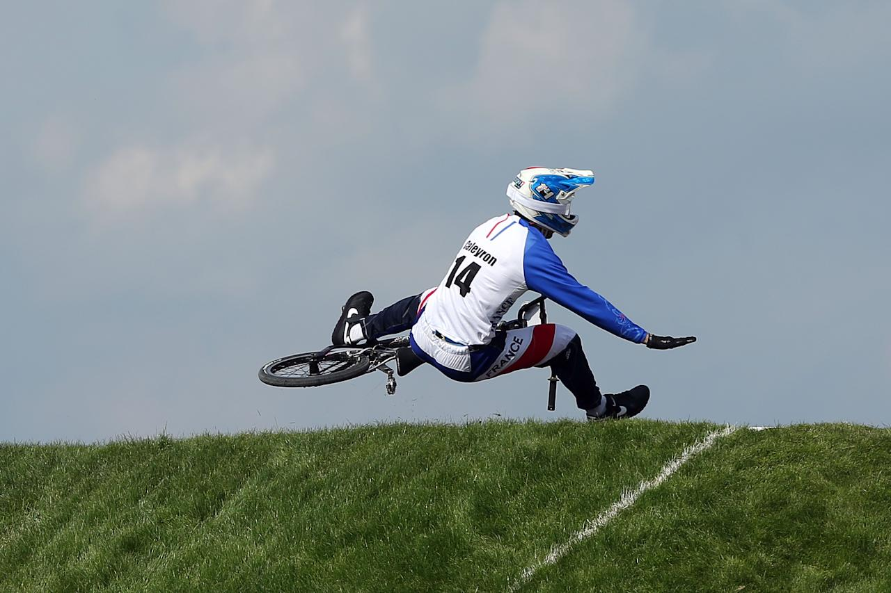 LONDON, ENGLAND - AUGUST 09:  Quentin Caleyron of France falls at the lip of a jump during the Men's BMX Cycling Quarter Finals on Day 13 of the London 2012 Olympic Games at BMX Track on August 9, 2012 in London, England.  (Photo by Bryn Lennon/Getty Images)