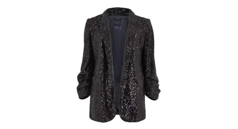 Relaxed Sequin Ruched Sleeve Blazer