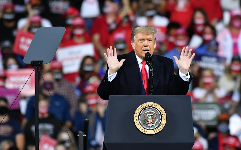 FAYETTEVILLE, USA - SEPTEMBER 19: US President Donald Trump speaks during a Make America Great Again campaign rally in Fayetteville, North Carolina, United States on September 19, 2020. (Photo by Peter Zay/Anadolu Agency via Getty Images)