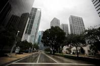 An empty street is seen in downtown Miami before the arrival of Hurricane Irma to south Florida, September 9, 2017. REUTERS/Carlos Barria