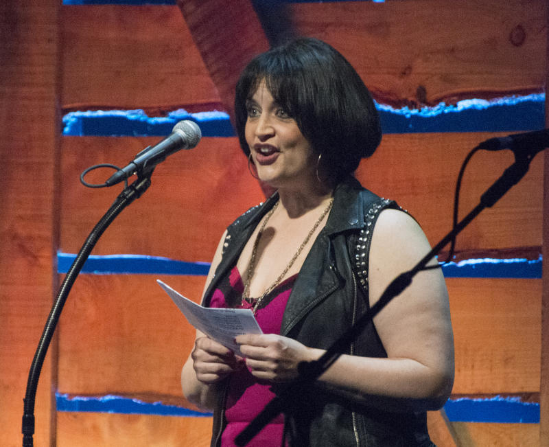 Welsh actress Ruth Jones announces the winner of the Folk Singer of the Year award, at the 16th annual BBC Radio 2 Folk Awards at the Wales Millennium Centre, Cardiff, 22nd April 2015. The award went to English singer-songwriter and musician, Nancy Kerr. (Photo by Judith Burrows/Getty Images)