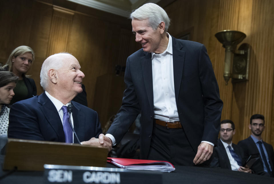 UNITED STATES - OCTOBER 30: Sens. Rob Portman, R-Ohio, right, and Ben Cardin, D-Md., attend the Senate Foreign Relations Committee confirmation hearing for Deputy Secretary of State John J. Sullivan to be U.S. ambassador to Russia, in Dirksen Building on Wednesday, October 30, 2019. Cardin introduced Sullivan to the committee. (Photo By Tom Williams/CQ-Roll Call, Inc via Getty Images)