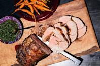 """If you want to stuff the roast as pictured, ask your butcher for a butterflied leg, not tied. Double the ingredients for the rub recipe and smear half onto lamb, then roll and tie it, and smear with the rest of the rub before roasting. <a href=""""https://www.epicurious.com/recipes/food/views/fennel-rubbed-roast-leg-of-lamb-with-carrots-and-salsa-verde?mbid=synd_yahoo_rss"""" rel=""""nofollow noopener"""" target=""""_blank"""" data-ylk=""""slk:See recipe."""" class=""""link rapid-noclick-resp"""">See recipe.</a>"""