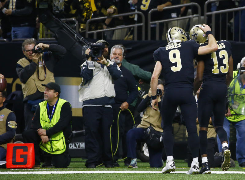 Drew Brees drew the ire of some of his teammates, including Michael Thomas. (AP Photo/Butch Dill)