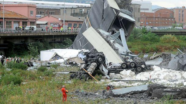 PHOTO: Rescuers work at the scene of the collapsed Morandi Bridge in the Italian port city of Genoa, Italy Aug. 14, 2018. (Reuters)