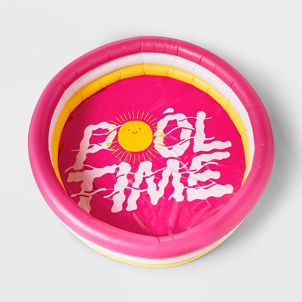 """<p>You'll always know what time it is looking at this <a href=""""https://www.popsugar.com/buy/Sun-Pool-Time-Kiddie-Pool-572017?p_name=Sun%20Pool%20Time%20Kiddie%20Pool&retailer=target.com&pid=572017&price=20&evar1=tres%3Aus&evar9=44816431&evar98=https%3A%2F%2Fwww.popsugar.com%2Flove%2Fphoto-gallery%2F44816431%2Fimage%2F47454267%2FSun-Pool-Time-Kiddie-Pool&list1=pools%2Csummer%2Cnostalgia&prop13=api&pdata=1"""" class=""""link rapid-noclick-resp"""" rel=""""nofollow noopener"""" target=""""_blank"""" data-ylk=""""slk:Sun Pool Time Kiddie Pool"""">Sun Pool Time Kiddie Pool</a> ($20).</p>"""