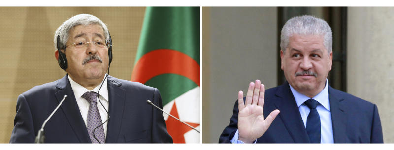 FILES - In this, Sept. 17, 2018 file photo, former Algerian Prime Minister Ahmed Ouyahia, left, listens in Algierss while in the Dec.4, 2014 file photo, former Algerian Prime Minister Abdelmalek Sellal leaves the Elysee palace in Paris. The two former Algerian prime ministers have been convicted and sentenced to prison for corruption-related charges in a landmark trial. Ahmed Ouyahia was sentenced to 15 years in prison and $16,000 in fines. Abdelmalek Sellal was sentenced to 12 years in prison and $8,000 in fines. (AP Photo/Anis Belghoul, Remy de la Mauviniere, Files)