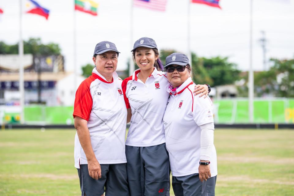 Singapore's lawn bowls women's triples team of (from left) Goh Quee Kee, Shermeen Lim and Lim Poh Eng won the Republic's first ever SEA Games gold in the sport. (PHOTO: SNOC/Andy Chua)