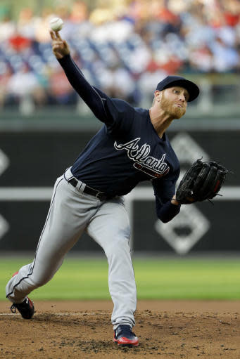 Atlanta Braves' Mike Foltynewicz pitches during the first inning of a baseball game against the Philadelphia Phillies, Monday, May 21, 2018, in Philadelphia. (AP Photo/Matt Slocum)