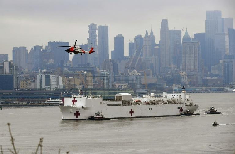 The 1,000-bed USNS Comfort was previously deployed to conflict and natural disaster zones (AFP Photo/Angela Weiss)