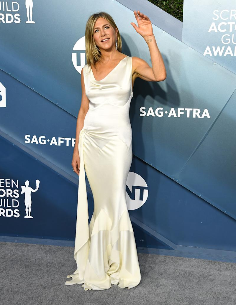 LOS ANGELES, CALIFORNIA - JANUARY 19: Jennifer Aniston arrives at the 26th Annual Screen Actors Guild Awards at The Shrine Auditorium on January 19, 2020 in Los Angeles, California. (Photo by Steve Granitz/WireImage)