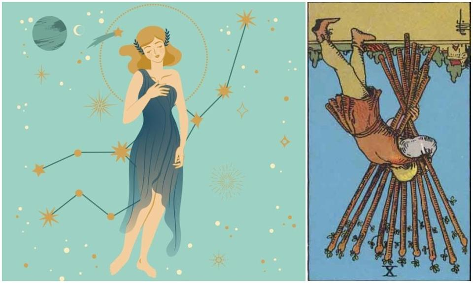 Virgo star sign, at left and Ten of Wands card in reverse, at right. Photos: Mixkit, Wikimedia Commons